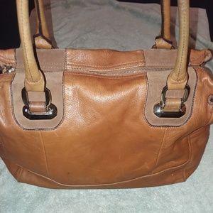 B.Makowsky leather,suede accents side pocket bag